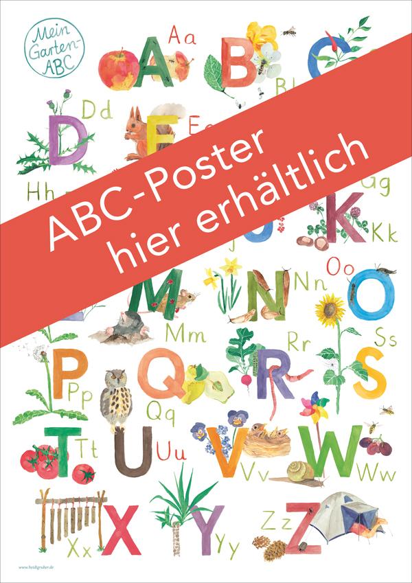 illustriertes ABC Poster zum Thema Garten für Vorschulkinder und Schulkinder