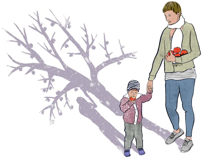 Apfelsüchtig, Herbst, Illustration, Mama, Tochter, Äpfel, Schatten