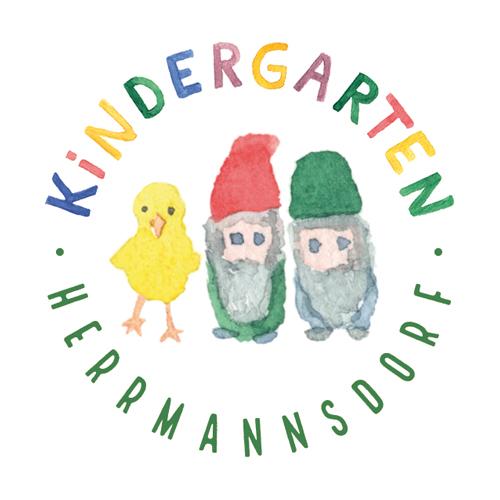 Kindergarten Herrmannsdorf, Logo, Illustration, Aquarell, Wichtel, Küken