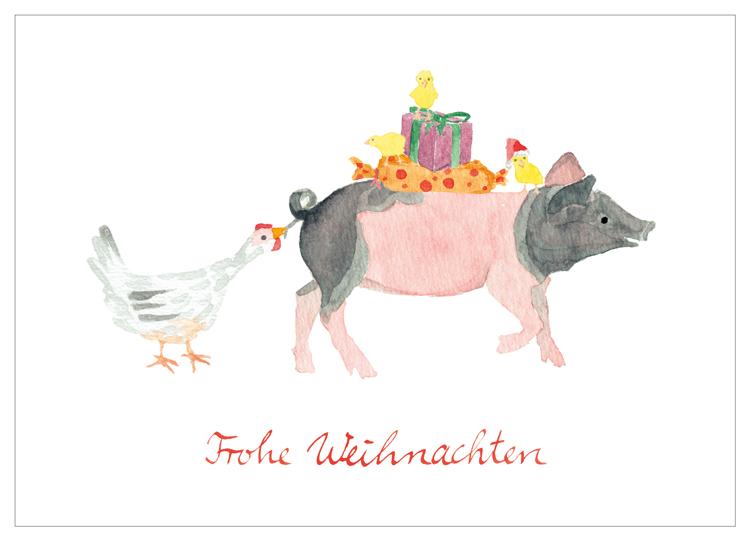 Kindergarten Herrmannsdorf, Illustration, Weihnachten, Schwein, Huhn, Küken, Geschenke