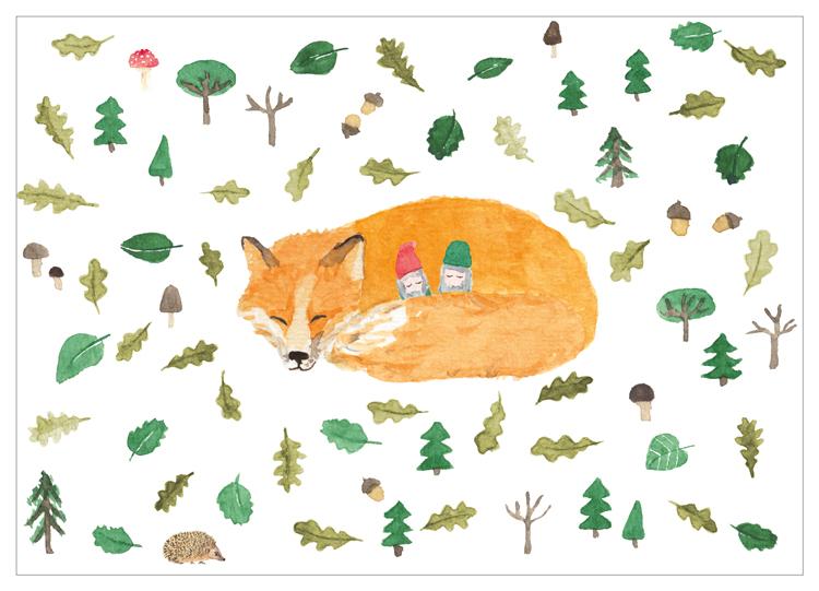 Kindergarten Herrmannsdorf, Illustration, Fuchs, Wichtel, Wald