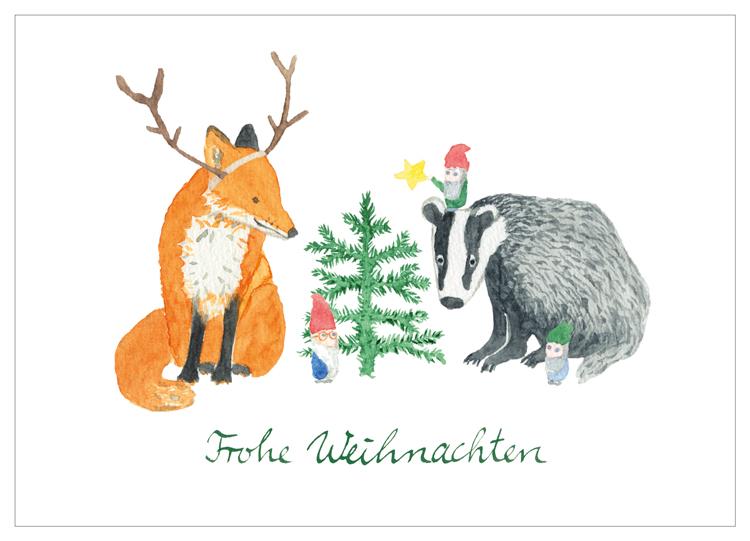 Fuchs und Dachs im Waldkindergarten, Kindergarten Herrmannsdorf, Illustration, Weihnachten