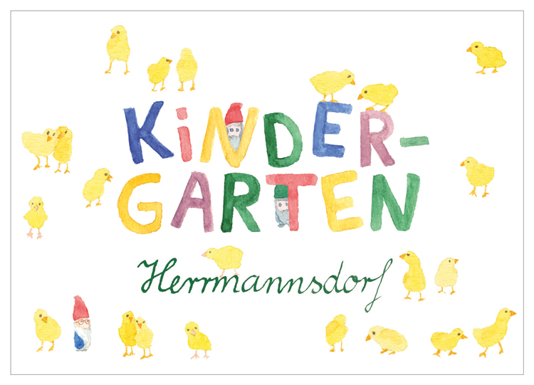 Kindergarten Herrmannsdorf, Wichtel, Küken, Illustration