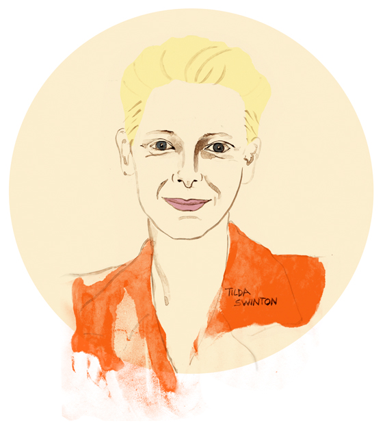 Tilda Swinton, Illustration, Schauspielerin, Portrait