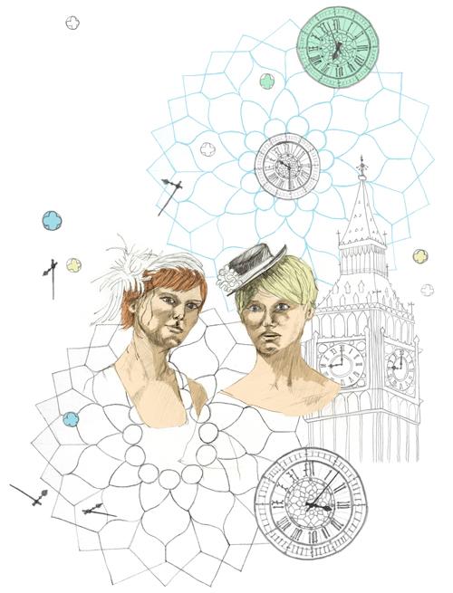 Illustration, Big Ben, London, shopping
