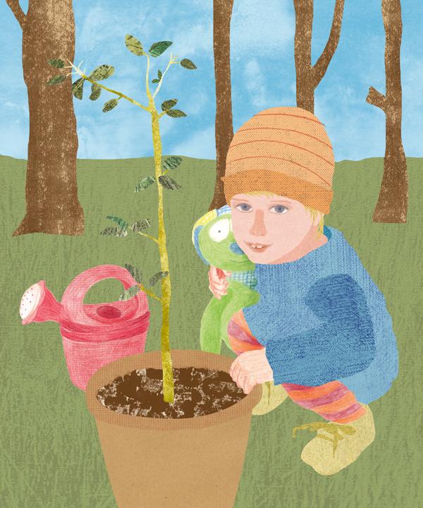 Im Garten Illustration Collage Buntstift Kind kids Blumentopf Gießkanne Baum pflanzen
